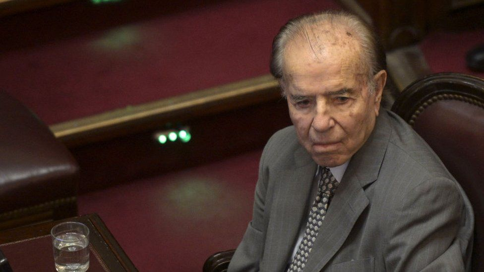 Argentina's former president and current Senator Carlos Menem attends a session on the debate of a bill to renegotiate the public external debt at the Congress in Buenos Aires on February 5, 2020.