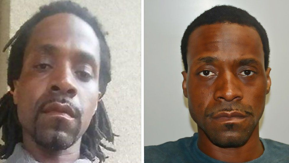 These two photographs released April 18, 2017 by the Fresno Police Department show shooting suspect Kori Ali Muhammad, 39