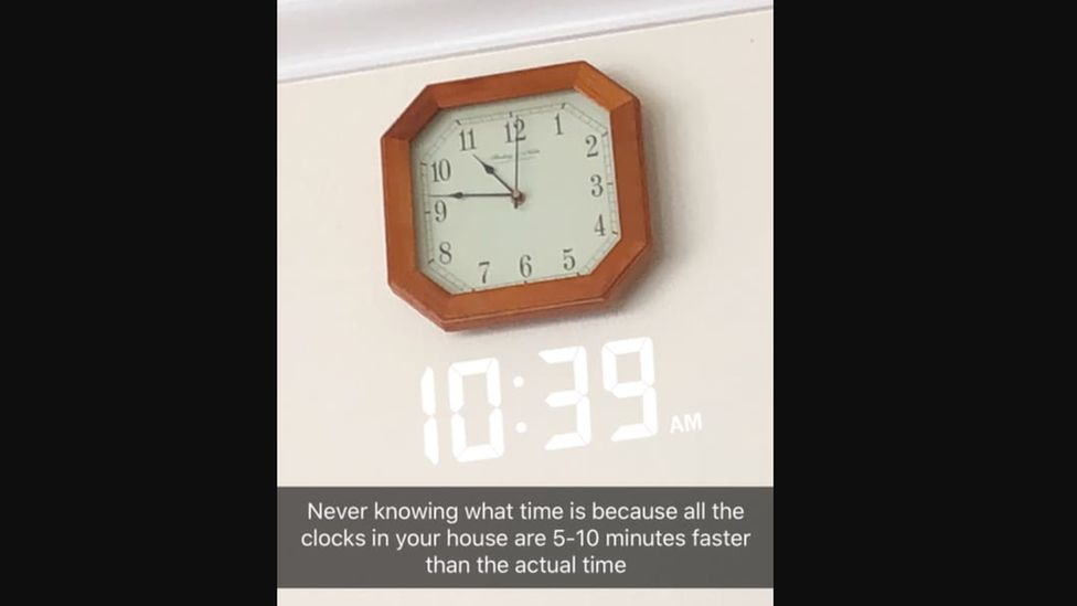"""A phone screen shows a wall clock at 10.47am while the digital clock shows 10.39am. A caption reads: """"Never knowing what time is because all the clocks in your house are 5-10 minutes faster than the actual time."""""""