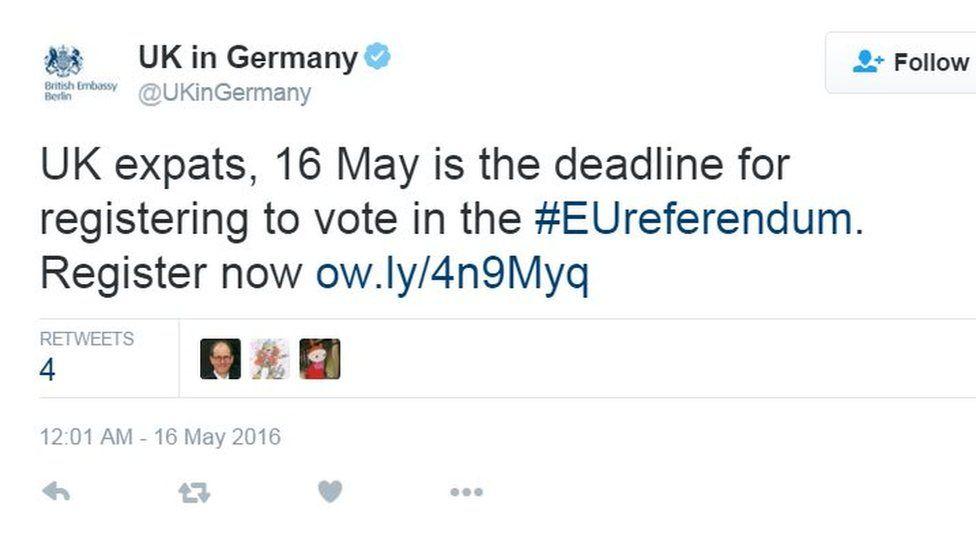 British Embassy in Berlin tweet