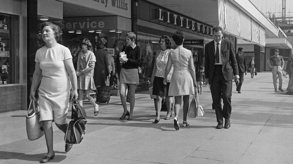 The shopping centre in Romford, Essex (pictured in 1970) was home to such stores as Freeman Hardy Willis and Littlewoods
