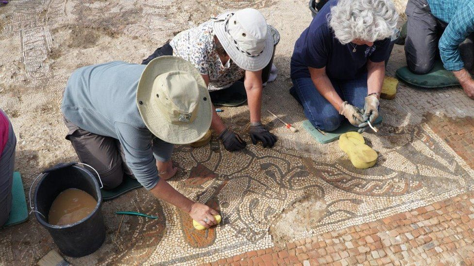 Roman mosaic in 'exciting' discovery one of three of its kind, says expert