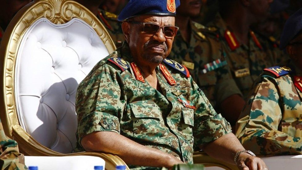 Sudanese President Omar al-Bashir watching the joint Sudan and Saudi Arabia air force drill at the Marwa air base, near Meroe some 350 kilometres north of Khartoum, April 09, 2017.