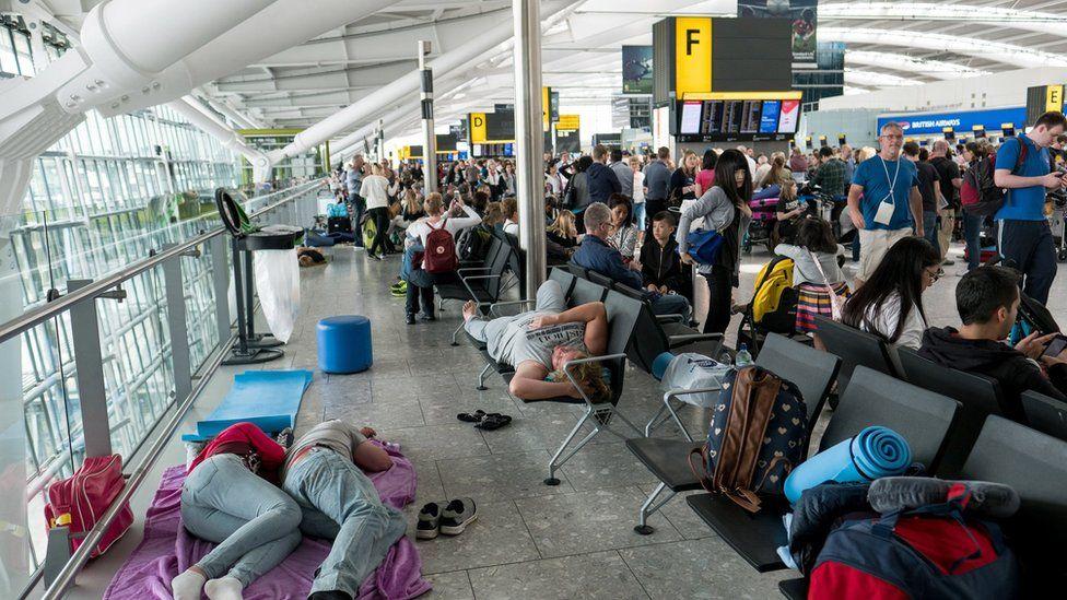 Passengers at Heathrow Terminal 5 on 28 May 2017