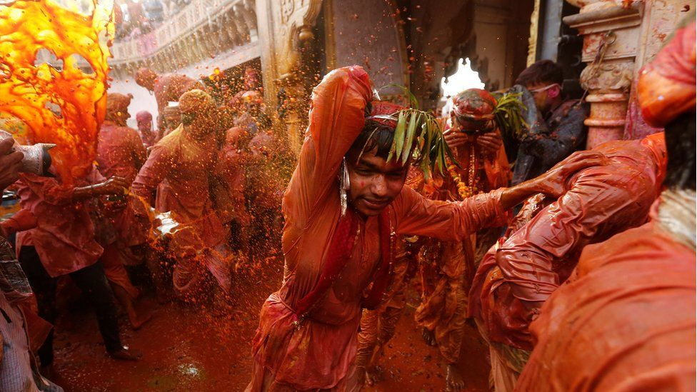 People in Uttar Pradesh celebrate the festival of colours