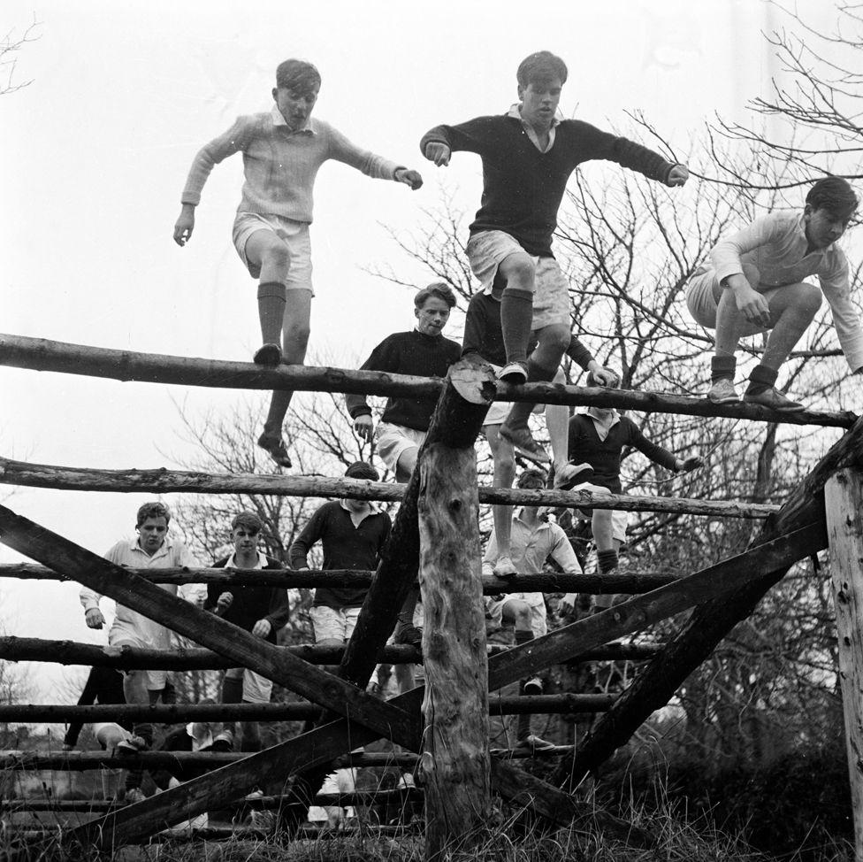 Gordonstoun boys on an obstacle course