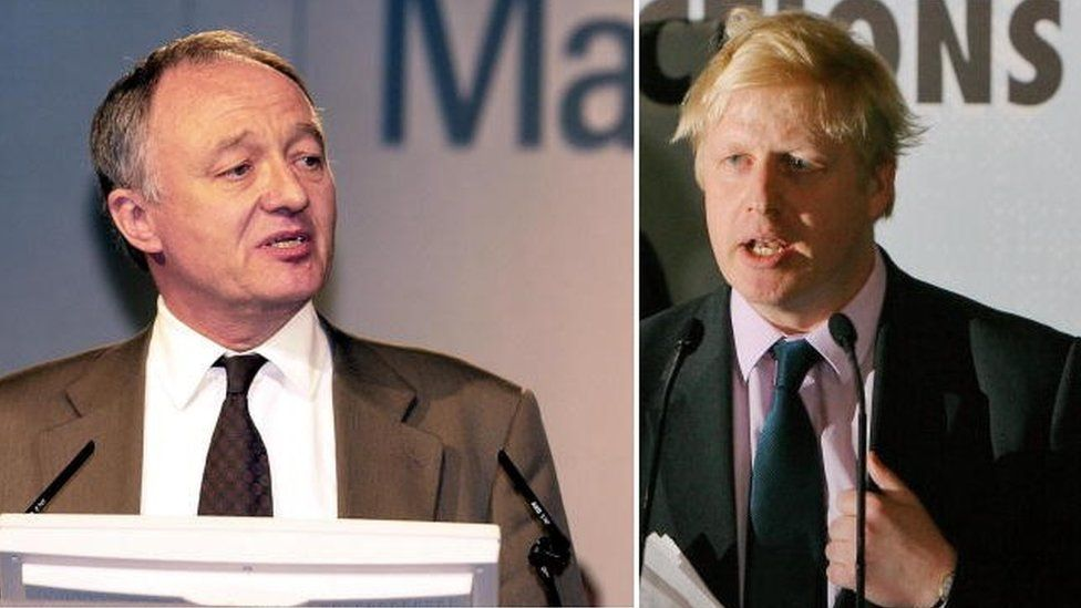 Mr Livingstone on winning the mayoralty in 1999, and Mr Johnson in 2008
