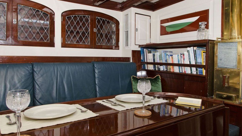 View of the dining table inside the Mary Rose