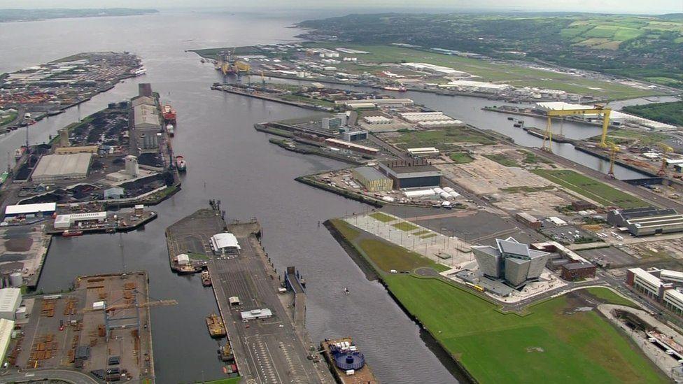 Aerial shot of Belfast port