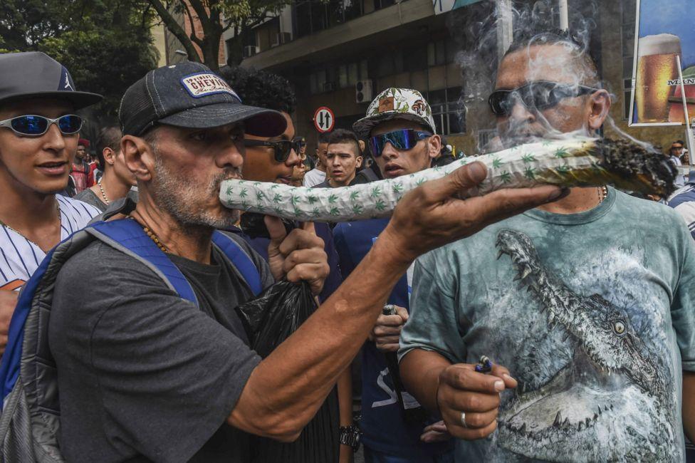 A man smokes