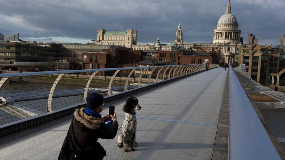 Man takes a photo of his dog on a deserted Millennium bridge in London