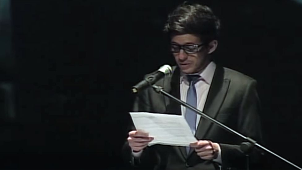 Jose Gregorio Marquez reading out his letter in 2013