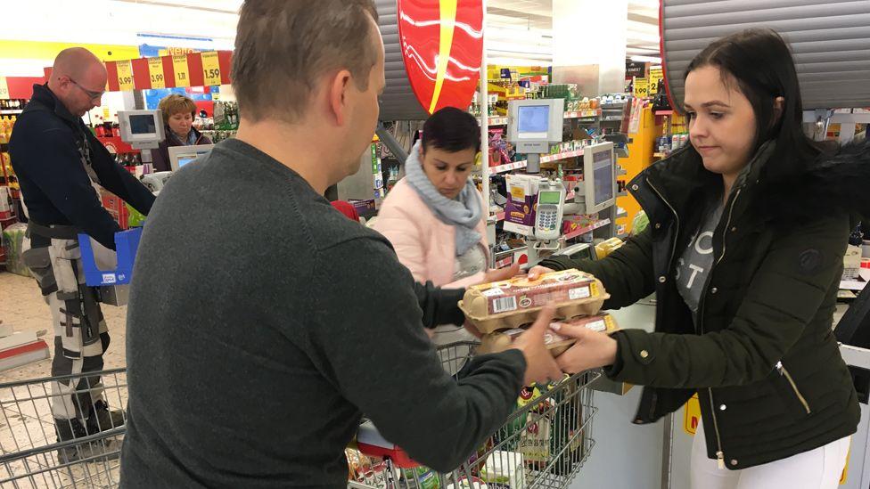 Czech shoppers in a supermarket in Altenberg, Germany