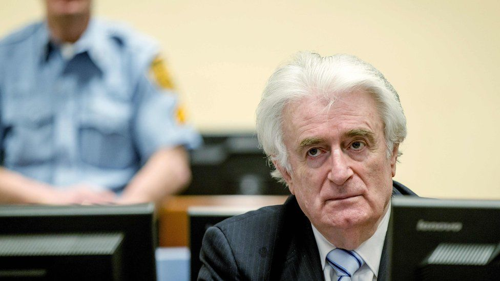 Radovan Karadzic sits in a court in The Hague in 2016.