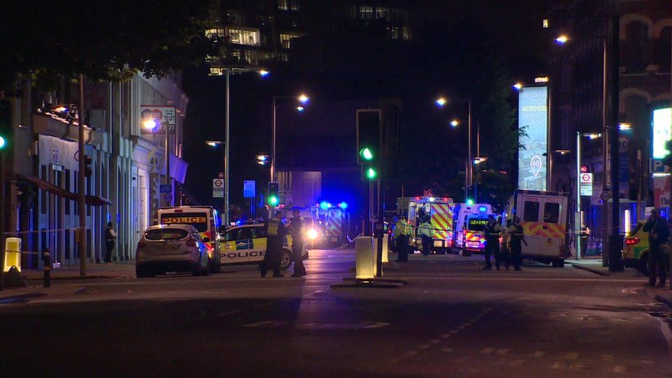 Police and ambulance could be seen on the south side of London Bridge