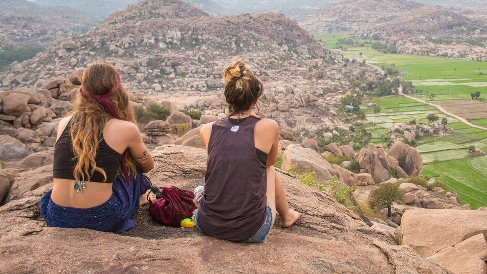 Backpackers in India