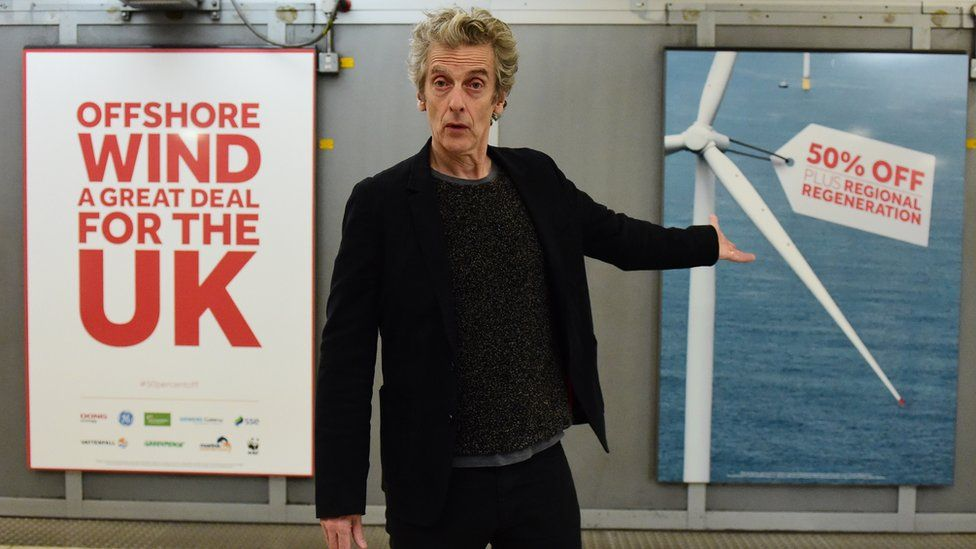 Peter Capaldi at Westminster tube station