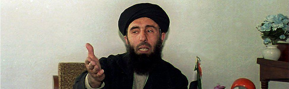 This file photo shows Afghan warlord Gulbuddin Hekmatyar in Chahar Saib, south of Kabul (January 1994)