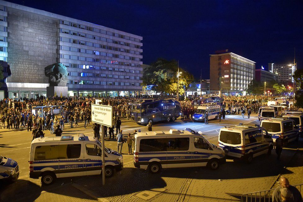Police vehicles in central Chemnitz, 27 August