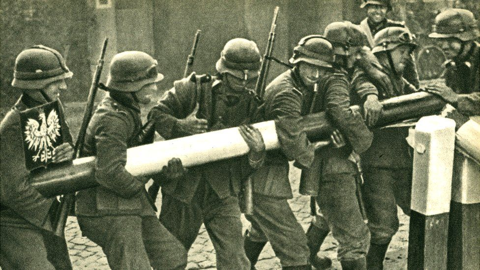German troops removing a Polish border barrier during the invasion on 1 September 1939