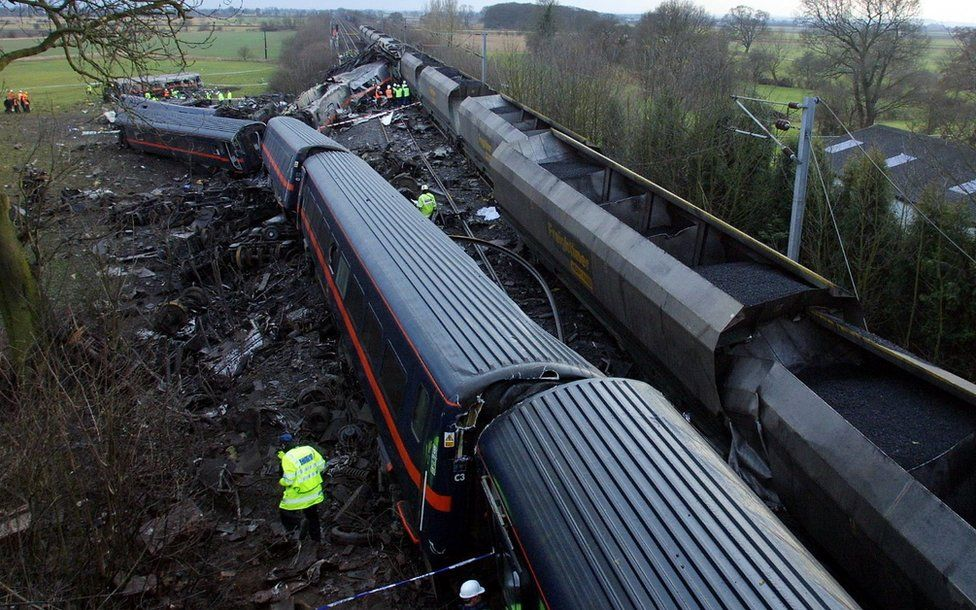 Overhead view of train wreckage