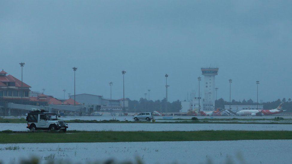 Cochin's International airport apron is seen flooded following monsoon rains