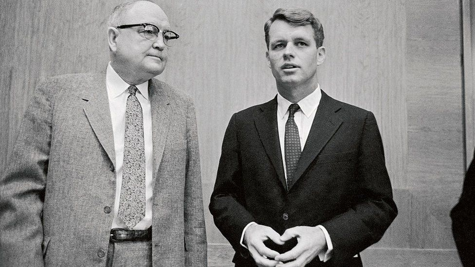 Senator James O Eastland (left) and former attorney general Robert Kennedy