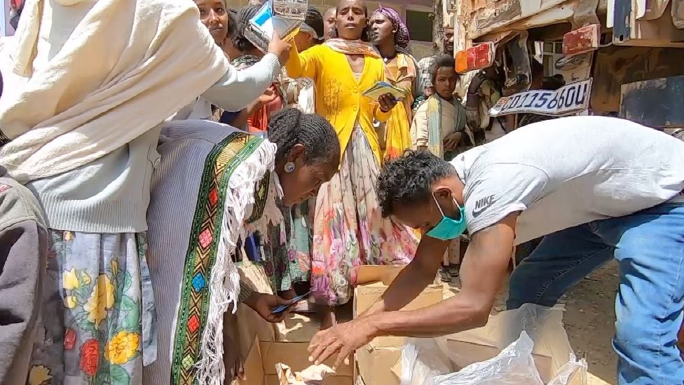 Food aid being distributed in Tigray, Ethiopia