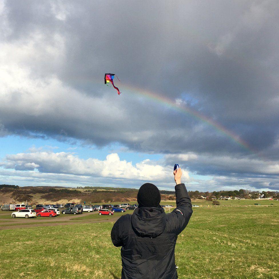 Kite with rainbow tail