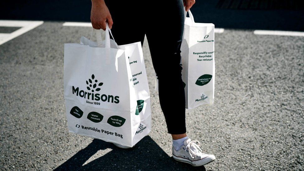 Morrisons' shopping bags