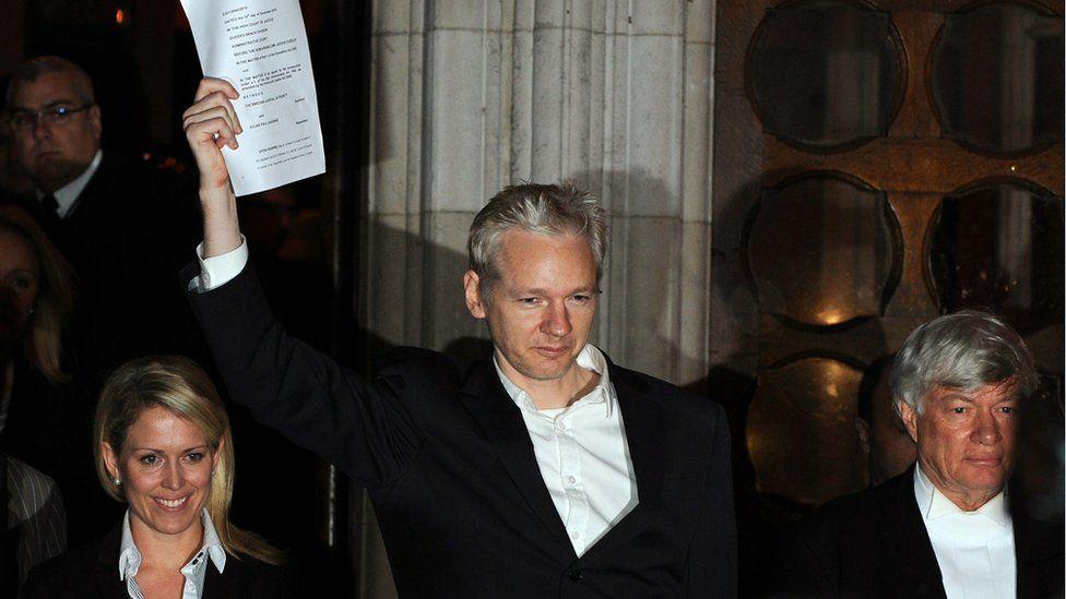 Julian Assange outside the High Court in December 2010