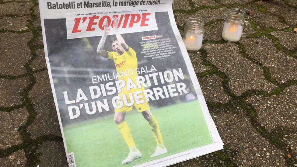 The front page of L'Equipe featuring Emiliano Sala