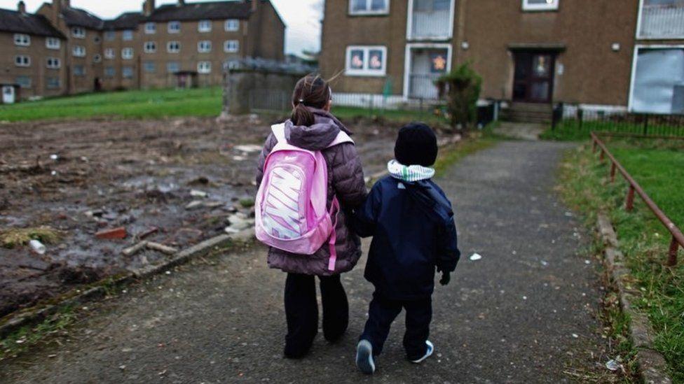 Children in poor part of Glasgow