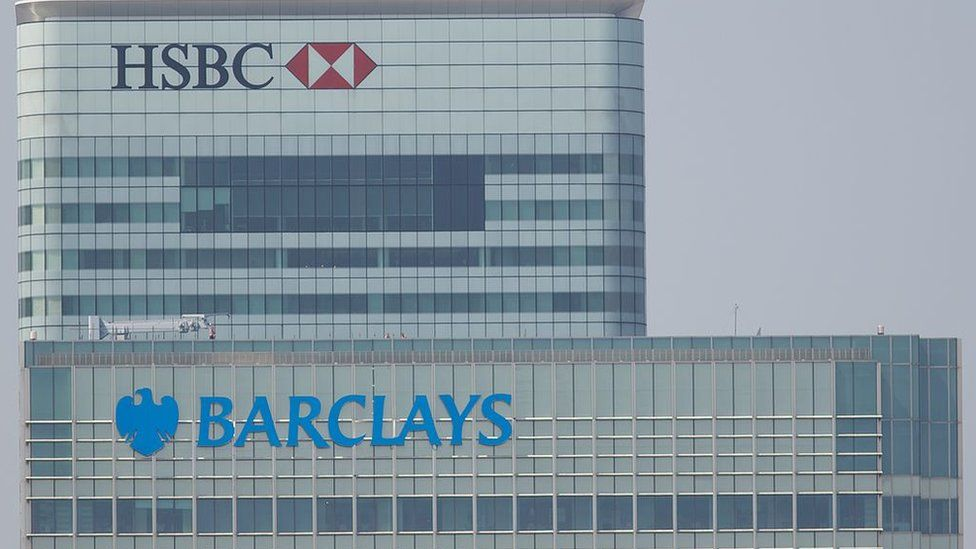 Barclays and HSBC offices in Canary Wharf