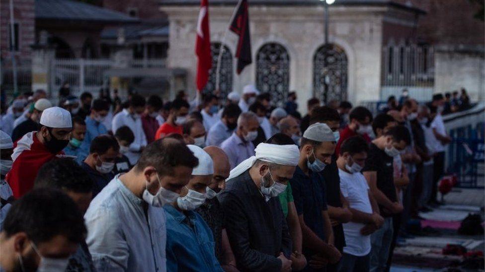Muslim prayer outside the Hagia Sophia on 10 July 2020