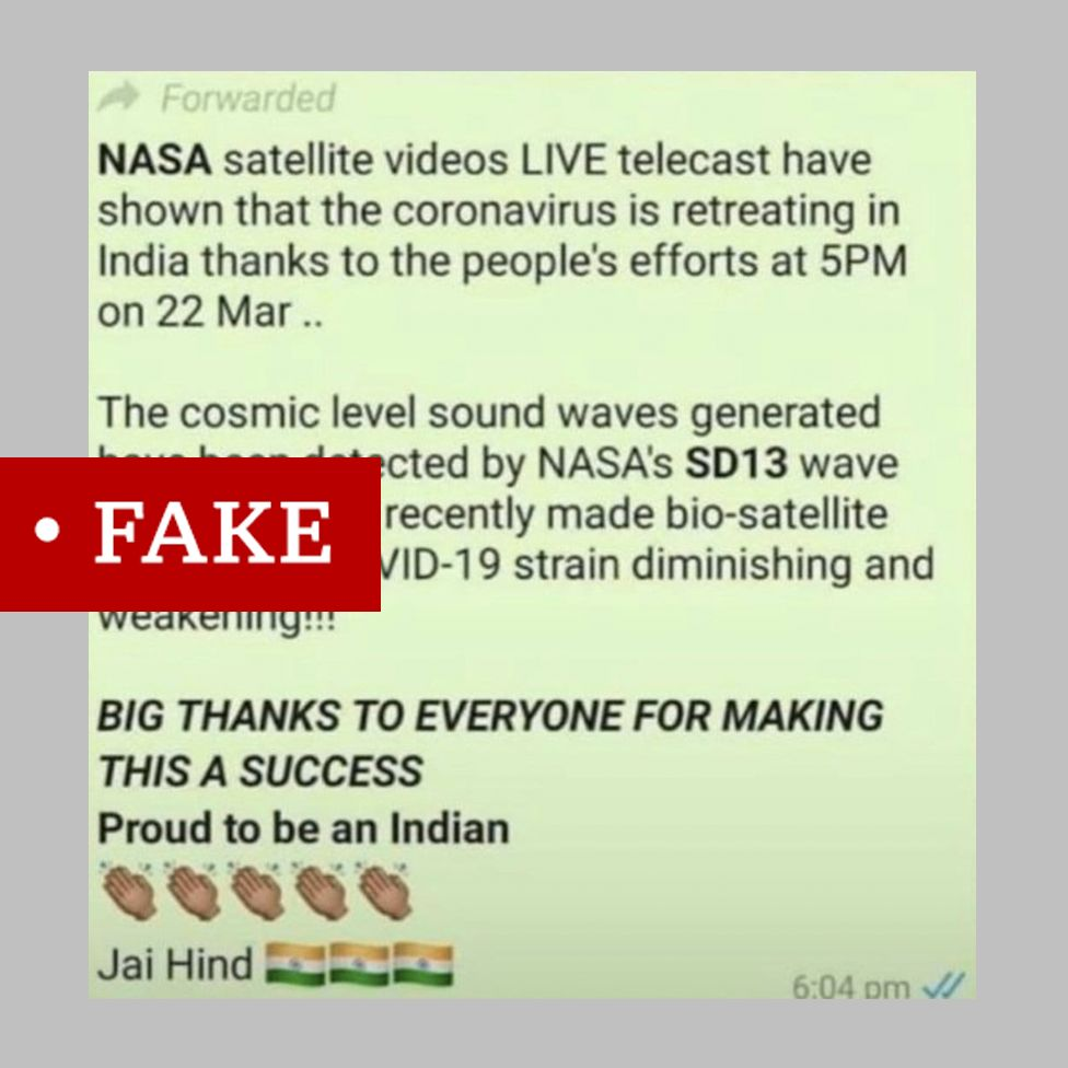 A WhatsApp message about Nasa satellites detecting Indians clapping