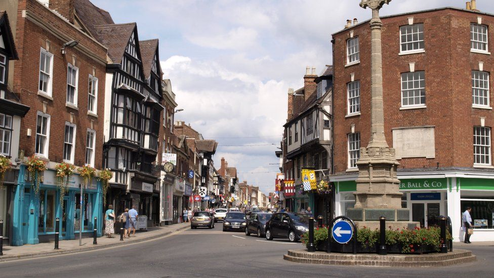 The centre of Tewkesbury