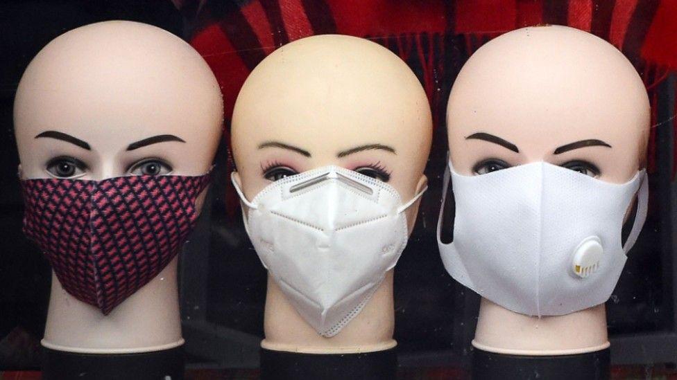Face masks in a shop