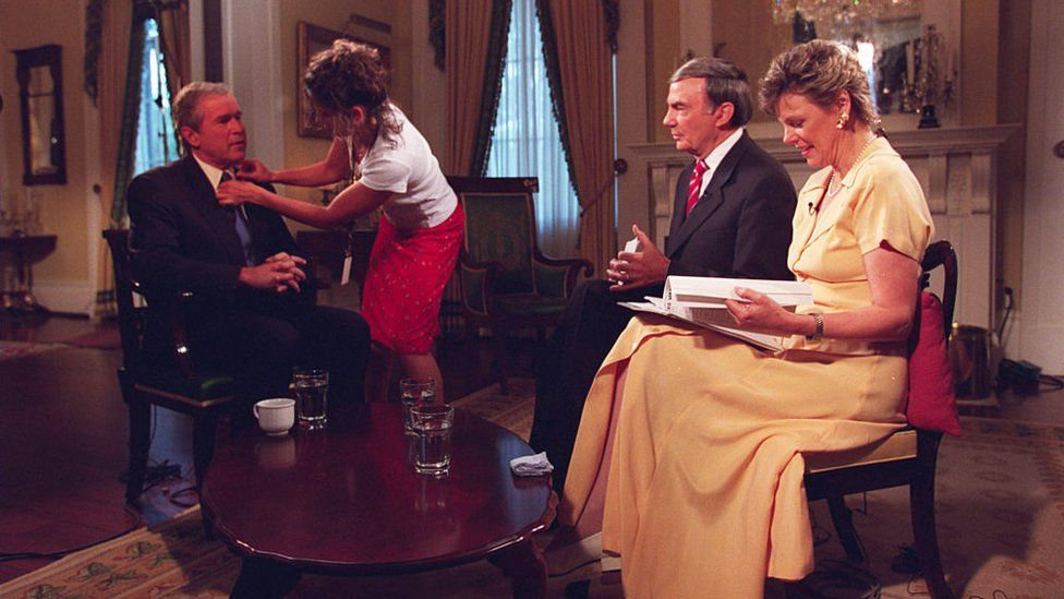 Former President George W Bush is prepared for his interview with Cokie Roberts and Sam Donaldson