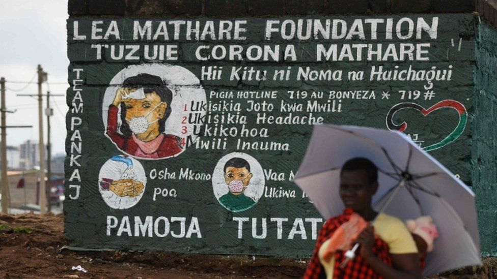 A mural in Kenya's capital, Nairobi, with Covid-19 information