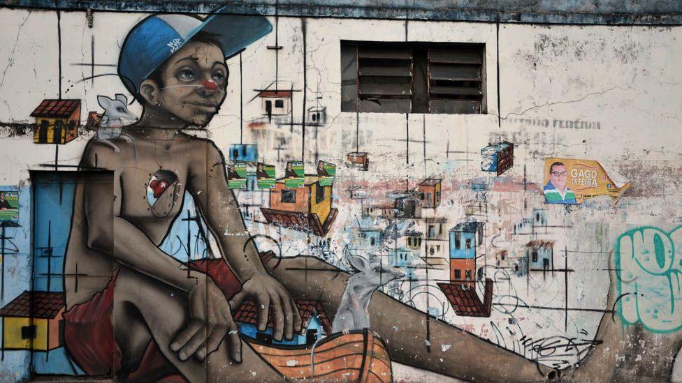 Grafitti of a street kid in Salvador