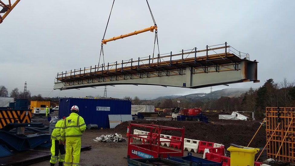 Sections of new bridge