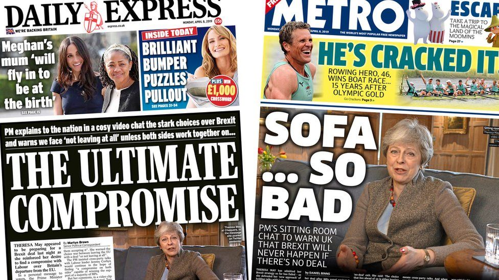 Composite images featuring Daily Express and Metro front pages