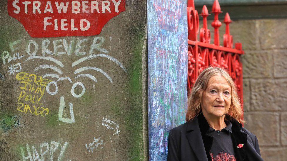 John Lennon's sister Julia Baird outside Strawberry Field