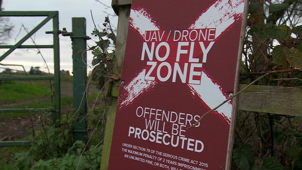 Sign saying 'UAV/Drone No Fly Zone'