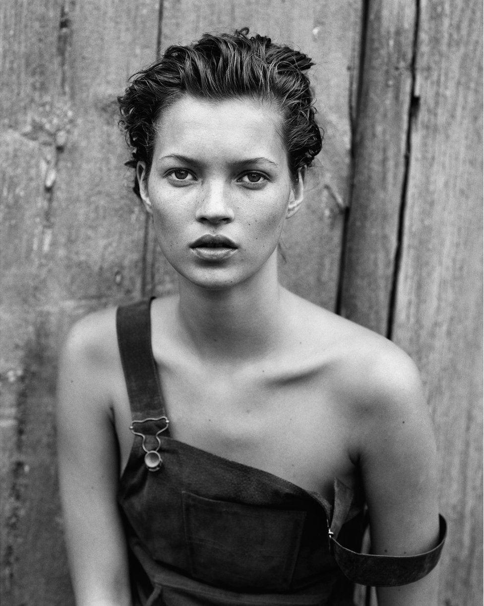 Fashion portrait showing Kate Moss