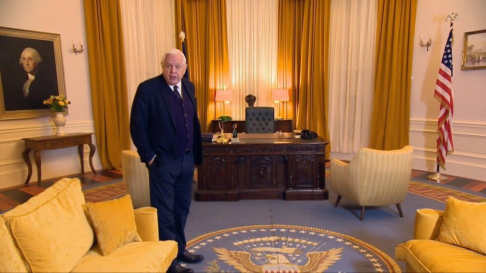 John Simpson on the Oval Office replica set at October Film Studios in Norfolk.
