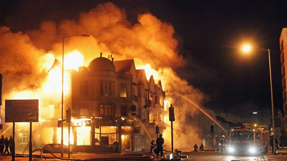 A large fire in Croydon in August 2011 during the riots