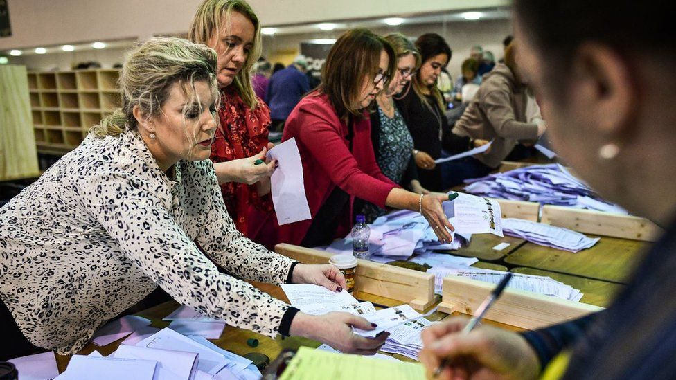 Votes getting counted at the Irish election 2020