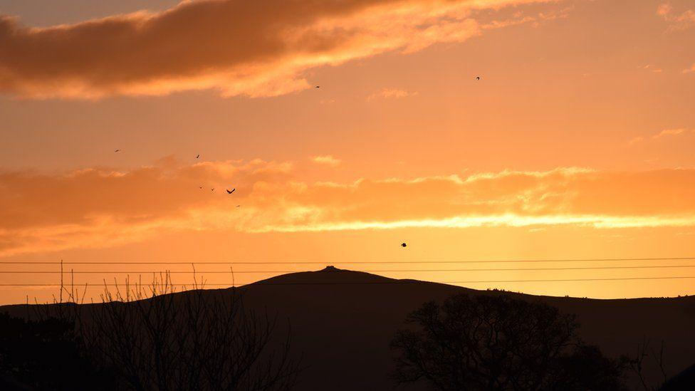 Dawn sky above Moel Famau, Mold